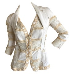 "Christian Dior by John Galliano  White Leather & Lace ""Bar"" Jacket"