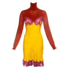 Christian Dior by John Galliano yellow and pink lace slip dress, fw 1998