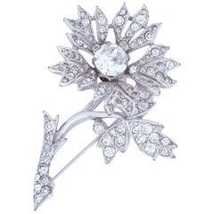 Christian Dior By Kramer 1950s Spring Set Diamante Floral Spray Brooch