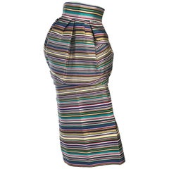 Christian Dior by Raf Simons Silk Striped Skirt