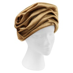 CHRISTIAN DIOR c.1960s Gold Silk Velvet Tied Back Bow Turban Cloche Hat