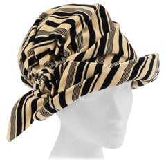 CHRISTIAN DIOR c.1960's Striped Silk Velvet Spiral Knot Bow Bucket Cloche Hat