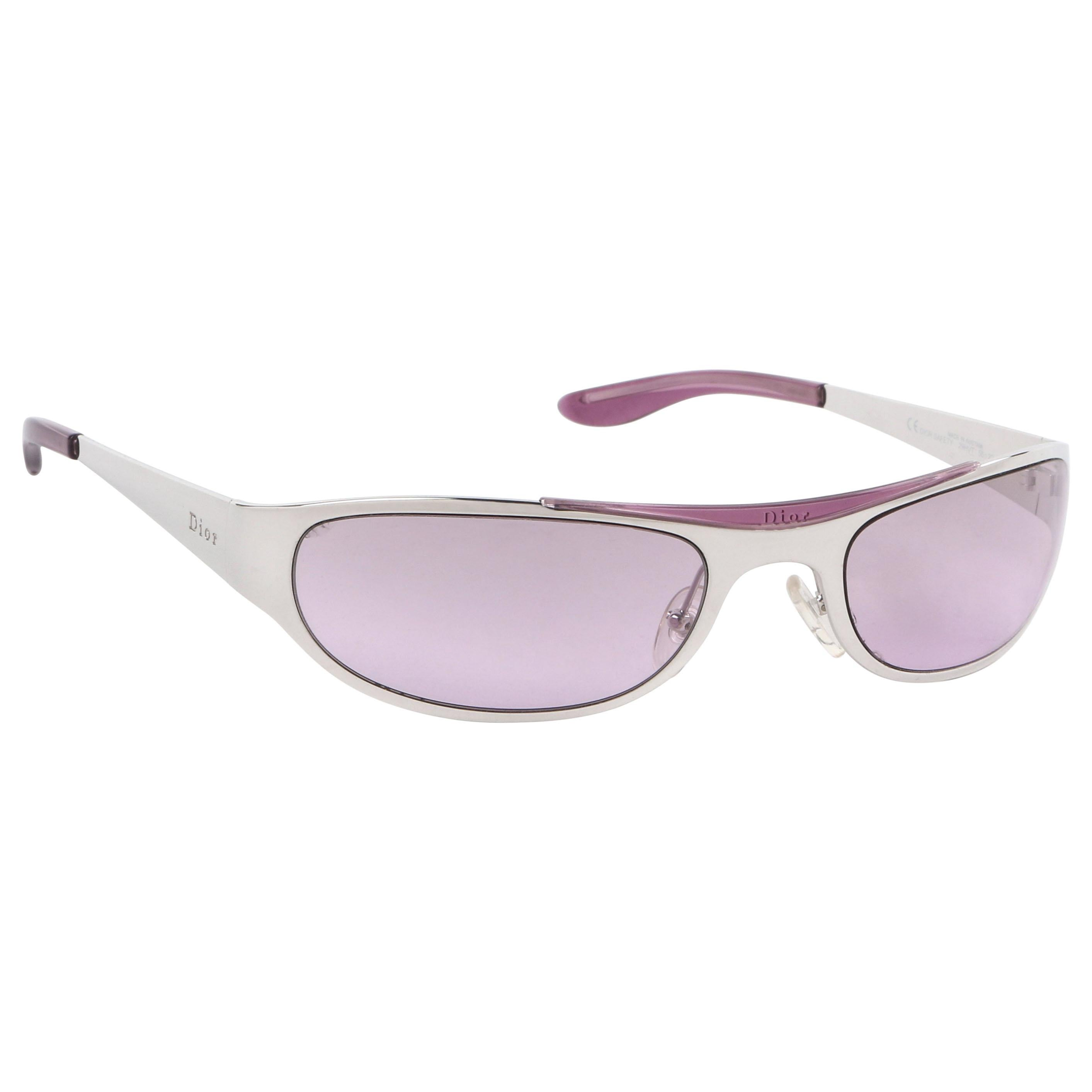 """CHRISTIAN DIOR c.1990s """"Dior Safety"""" Lavender Sport Style Wrap Sunglasses"""