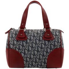 "CHRISTIAN DIOR c.2002 ""Trotter"" Blue Red Diorissimo Canvas Boston Handbag"