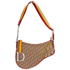 "CHRISTIAN DIOR c.2004 ""Rasta"" Brown Diorissimo Saddle Shoulder Bag"