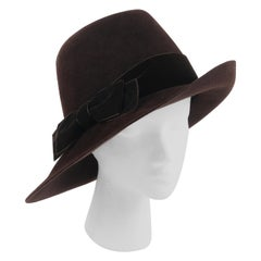 CHRISTIAN DIOR c.2011 Chocolate Brown Felt Velvet Bow Wide Tilted Brim Fedora
