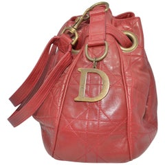 Christian Dior Cannage Leather Bucket Bag / Backpack