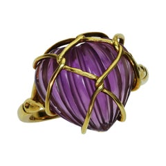 Christian Dior Carved Amethyst Heart Yellow Gold Ring