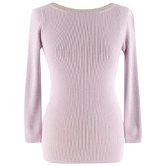 Christian Dior Cashmere & Silk Pink Lurex Knit Top - Size US 4