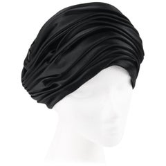 CHRISTIAN DIOR Chapeaux c.1960's Black Silk Satin Pleated Pillbox Turban Hat