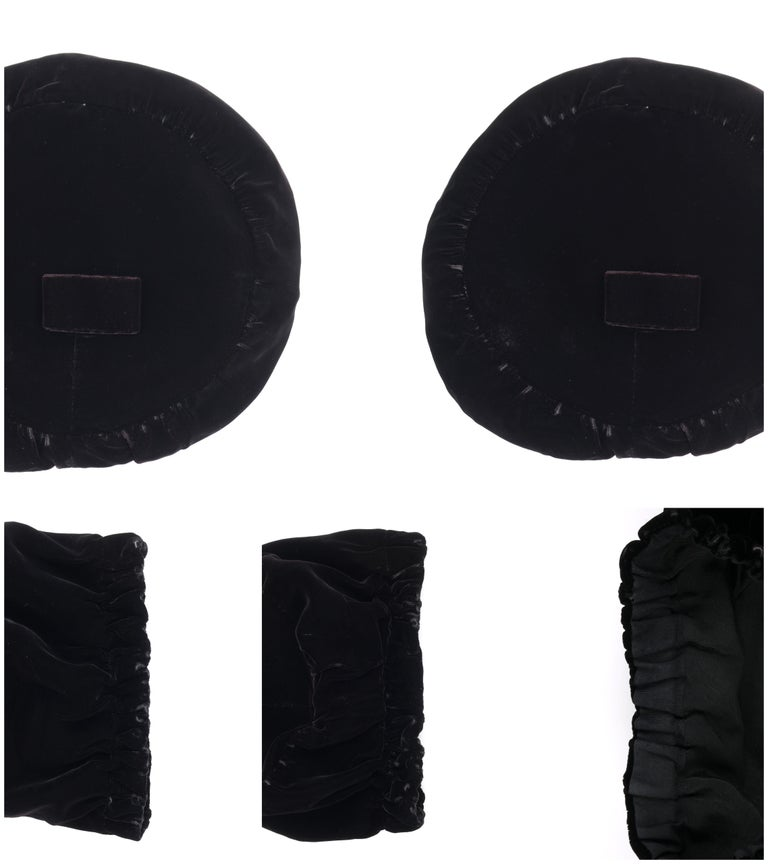 CHRISTIAN DIOR Chapeaux c.1960's Marc Bohan Black Gathered Velvet Beret Hat For Sale 6