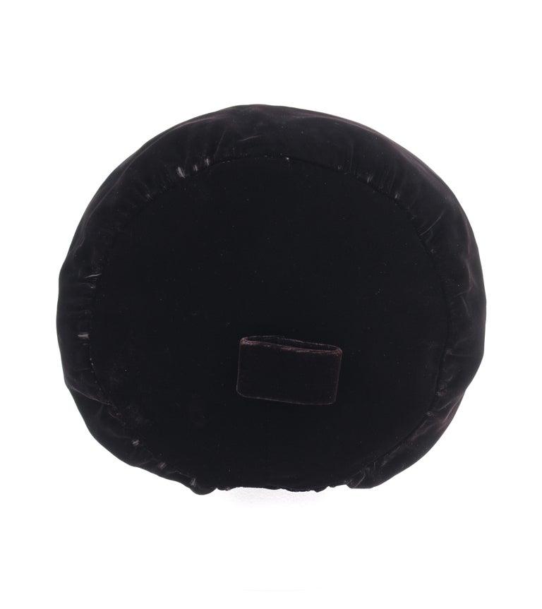 Women's CHRISTIAN DIOR Chapeaux c.1960's Marc Bohan Black Gathered Velvet Beret Hat For Sale