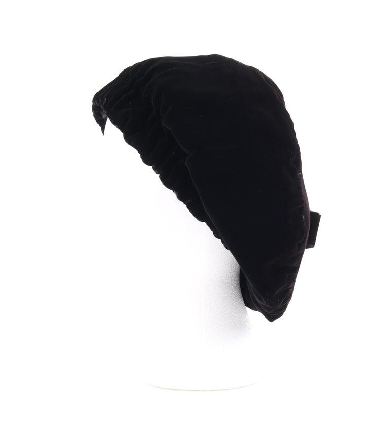 CHRISTIAN DIOR Chapeaux c.1960's Marc Bohan Black Gathered Velvet Beret Hat For Sale 1