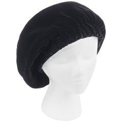 CHRISTIAN DIOR Chapeaux c.1960's Marc Bohan Black Gathered Velvet Beret Hat