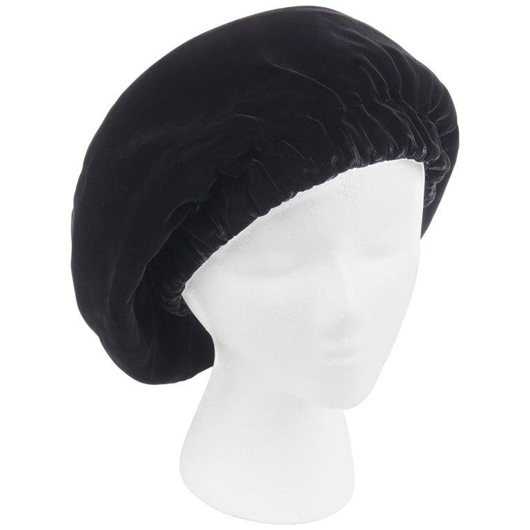 CHRISTIAN DIOR Chapeaux c.1960's Marc Bohan Black Gathered Velvet Beret Hat For Sale