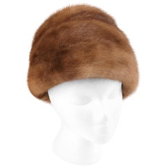 CHRISTIAN DIOR Chapeaux c.1960's Marc Bohan Brown Mink Fur Tiered Cossack Hat