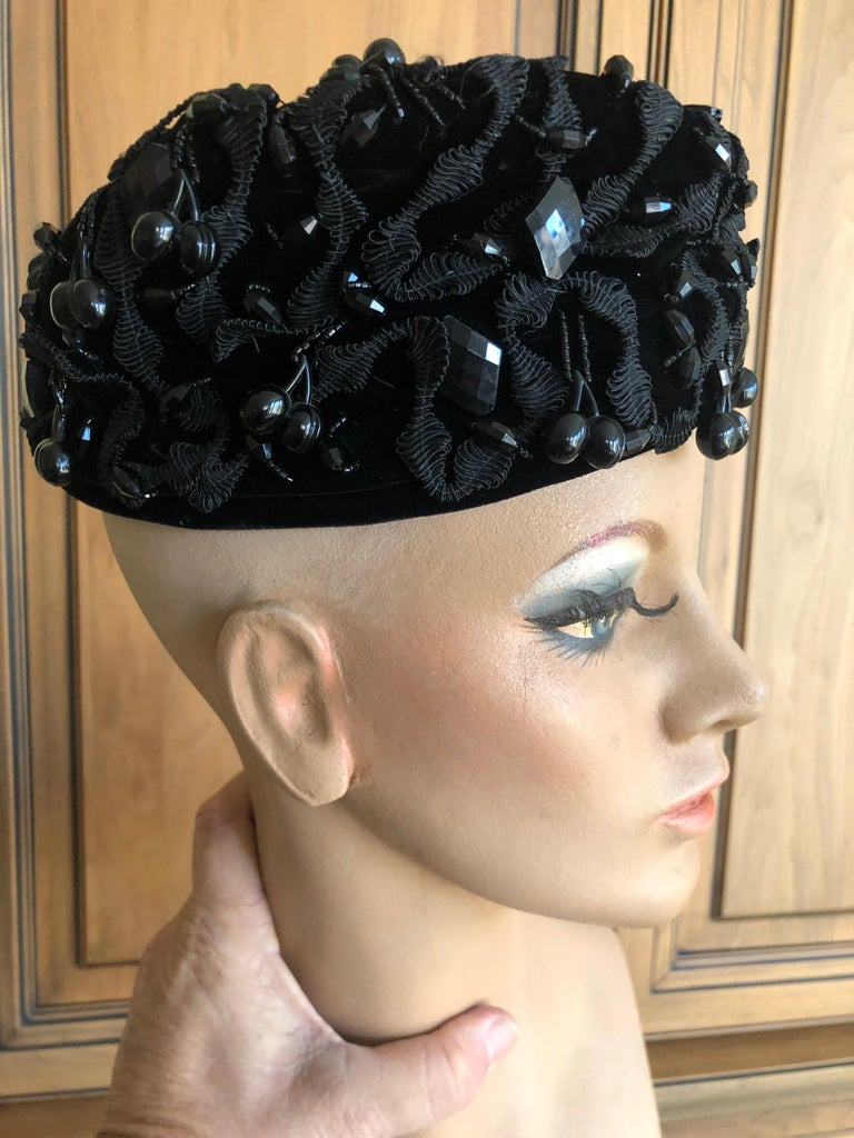 eed8acd8d5e Christian Dior Chapeaux Embellished Vintage 1950 Black Pillbox Hat with Jet  Cherries 22.5 inch circumfrence.