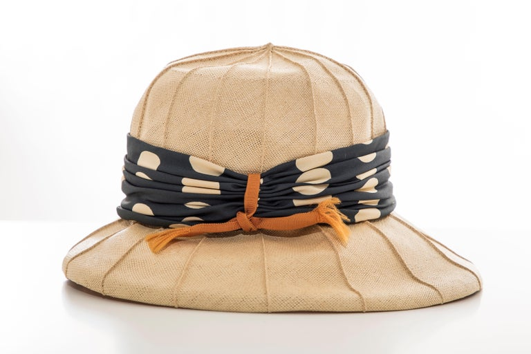 Beige Christian Dior Chapeaux Raffia Navy Silk Cream Polka Dots Band, Circa: 1960's For Sale