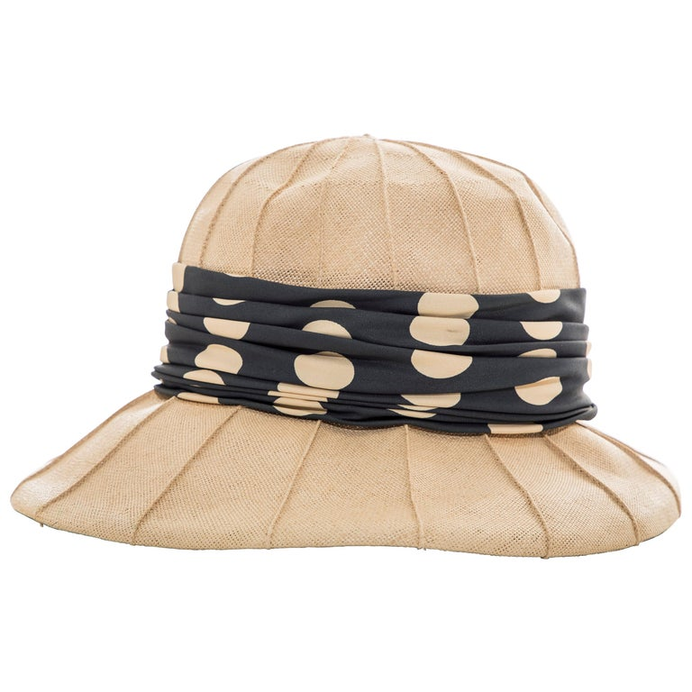 Christian Dior Chapeaux Raffia Navy Silk Cream Polka Dots Band, Circa: 1960's For Sale