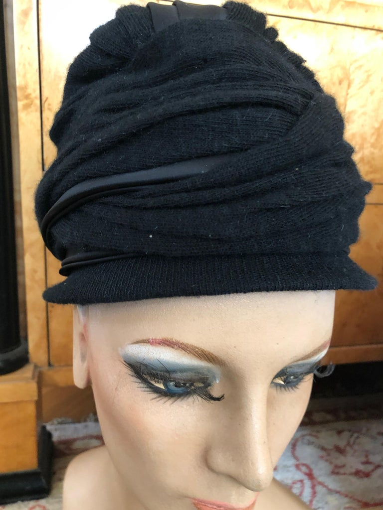 Christian Dior Chapeaux Vintage 1960's Black Knit Turban In Excellent Condition In San Francisco, CA