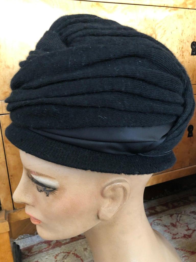 Christian Dior Chapeaux Vintage 1960's Black Knit Turban 2