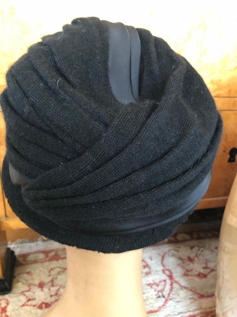 Christian Dior Chapeaux Vintage 1960's Black Knit Turban 3