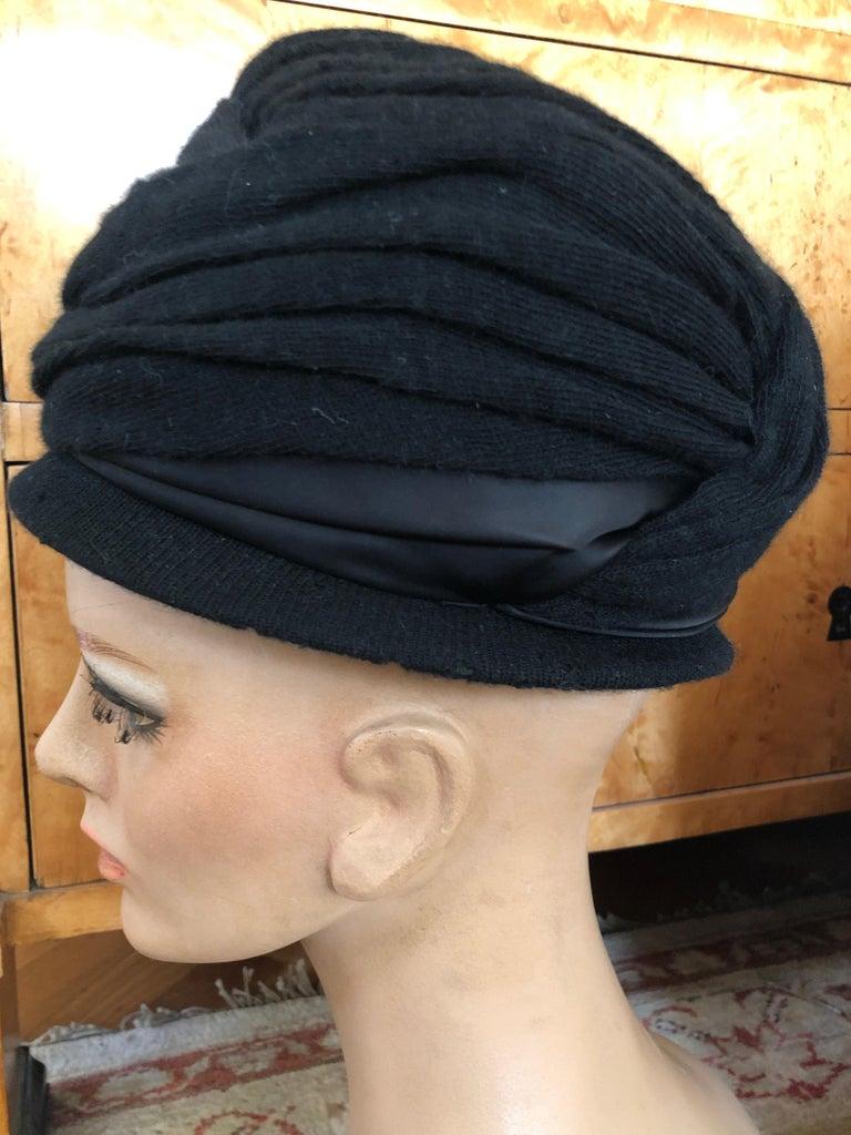 Christian Dior Chapeaux Vintage 1960's Black Knit Turban 4