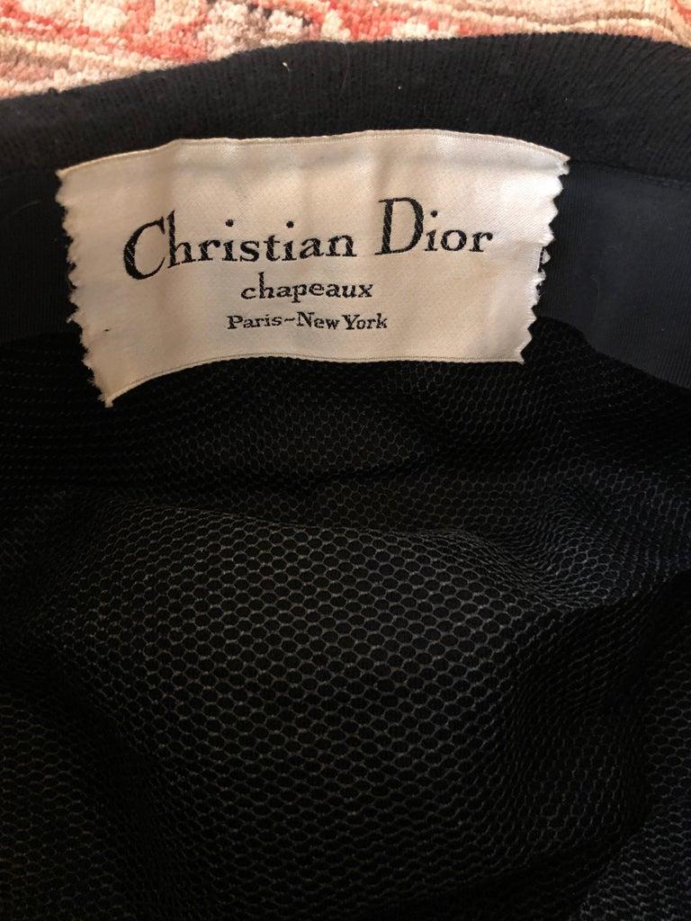 Christian Dior Chapeaux Vintage 1960's Black Knit Turban 5