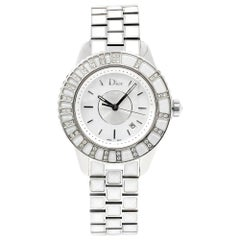 Christian Dior Christal MOP Steel White Sapphire Quartz Watch CD113112M003