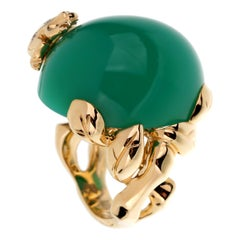 Christian Dior Chrysoprase Diamond Yellow Gold Cocktail Ring
