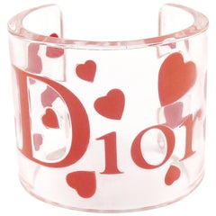Christian Dior Clear Resin Pink Hearts & Logo Cuff Bracelet