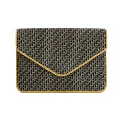 CHRISTIAN DIOR Clutch in Leather lined with Navy Monogram Canvas and Gold Thread