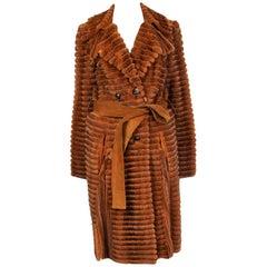 CHRISTIAN DIOR cognac brown MINK FUR & suede Coat Jacket 36 XS