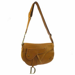 Christian Dior Cognac Leather Antique Gold Charm Saddle Shoulder Flap Bag