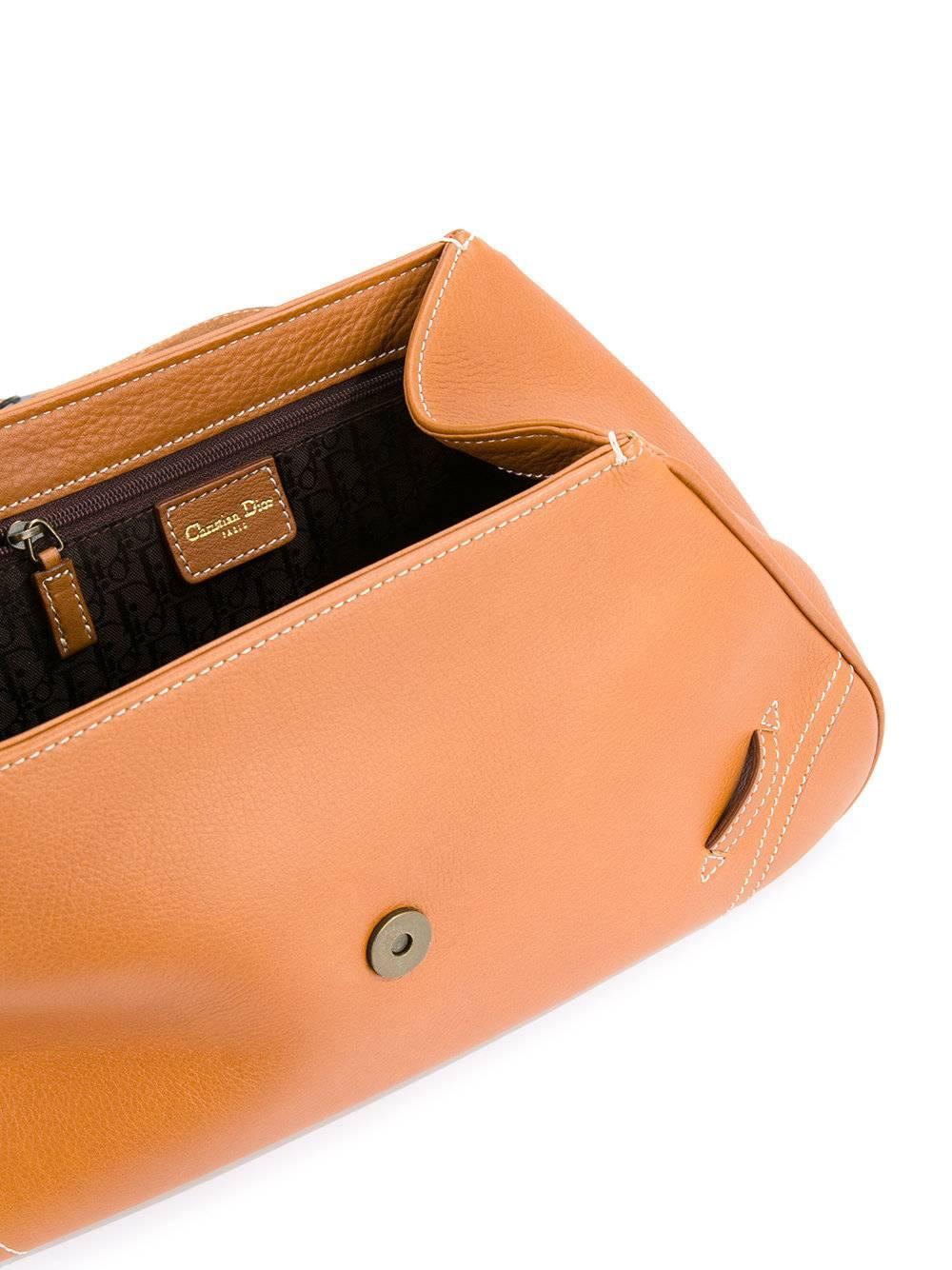 Dior Cognac Leather Gold Charm Top Handle Satchel Flap Shoulder Bag fT1wJLrd