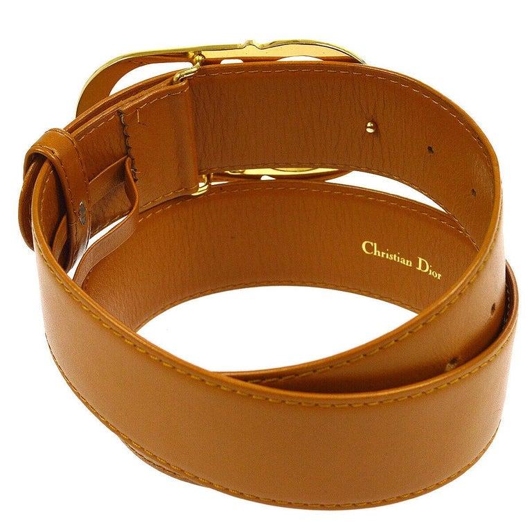 Christian Dior Cognac Leather Gold Large 'CD' Logo Waist Belt  Leather Metal Gold tone Peg closure Width 1.75