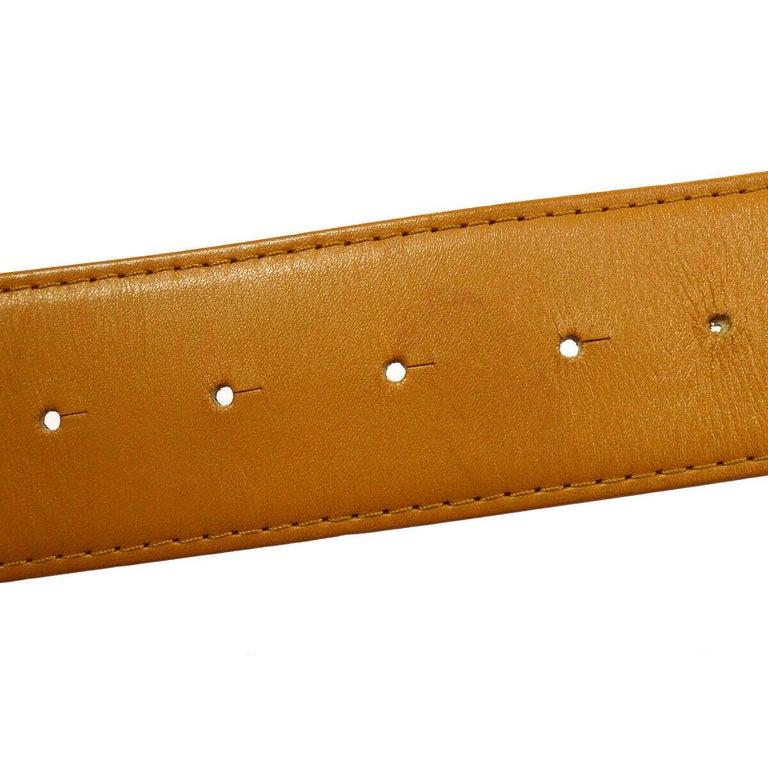 Brown Christian Dior Cognac Leather Gold Large 'CD' Logo Waist Belt For Sale