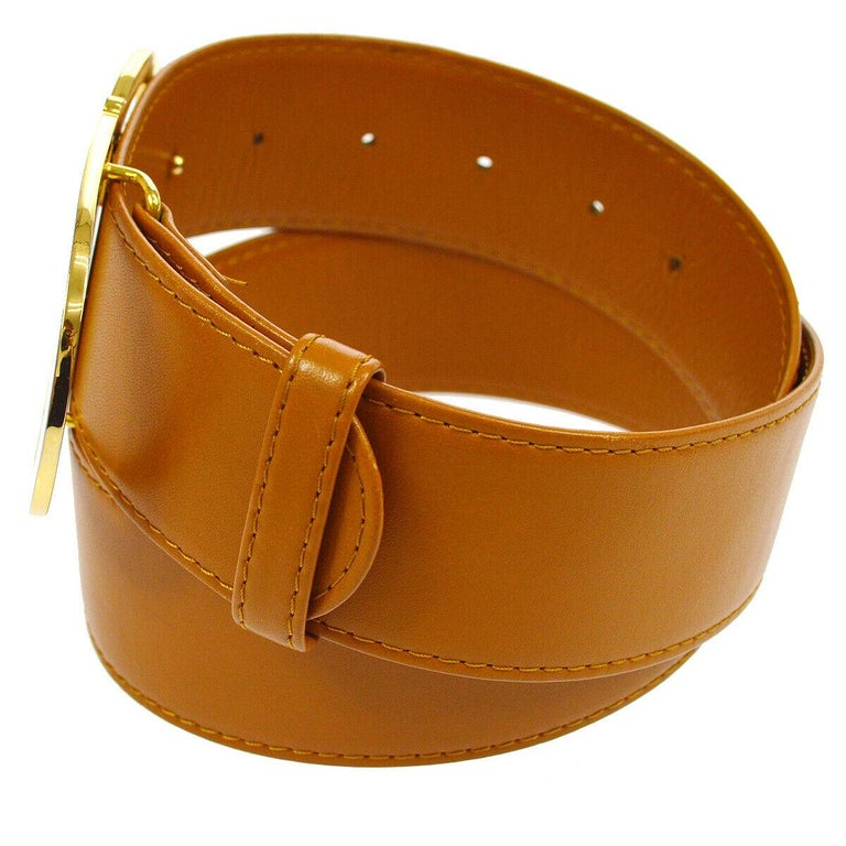 Christian Dior Cognac Leather Gold Large 'CD' Logo Waist Belt In Good Condition For Sale In Chicago, IL