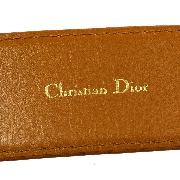 Women's Christian Dior Cognac Leather Gold Large 'CD' Logo Waist Belt For Sale