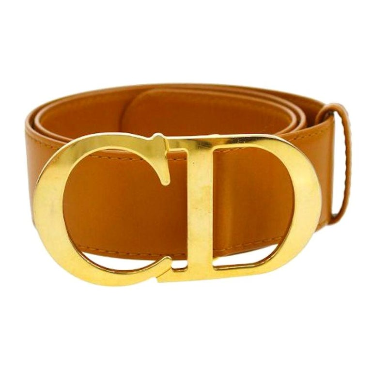 Christian Dior Cognac Leather Gold Large 'CD' Logo Waist Belt For Sale