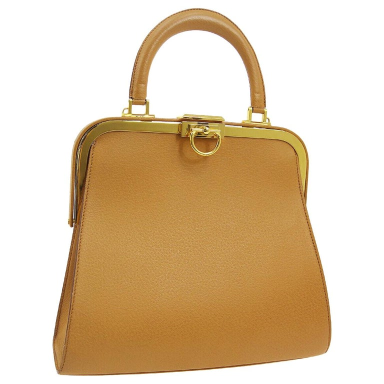Christian Dior Cognac Leather Gold Top Handle Satchel Kelly Shoulder Bag For Sale