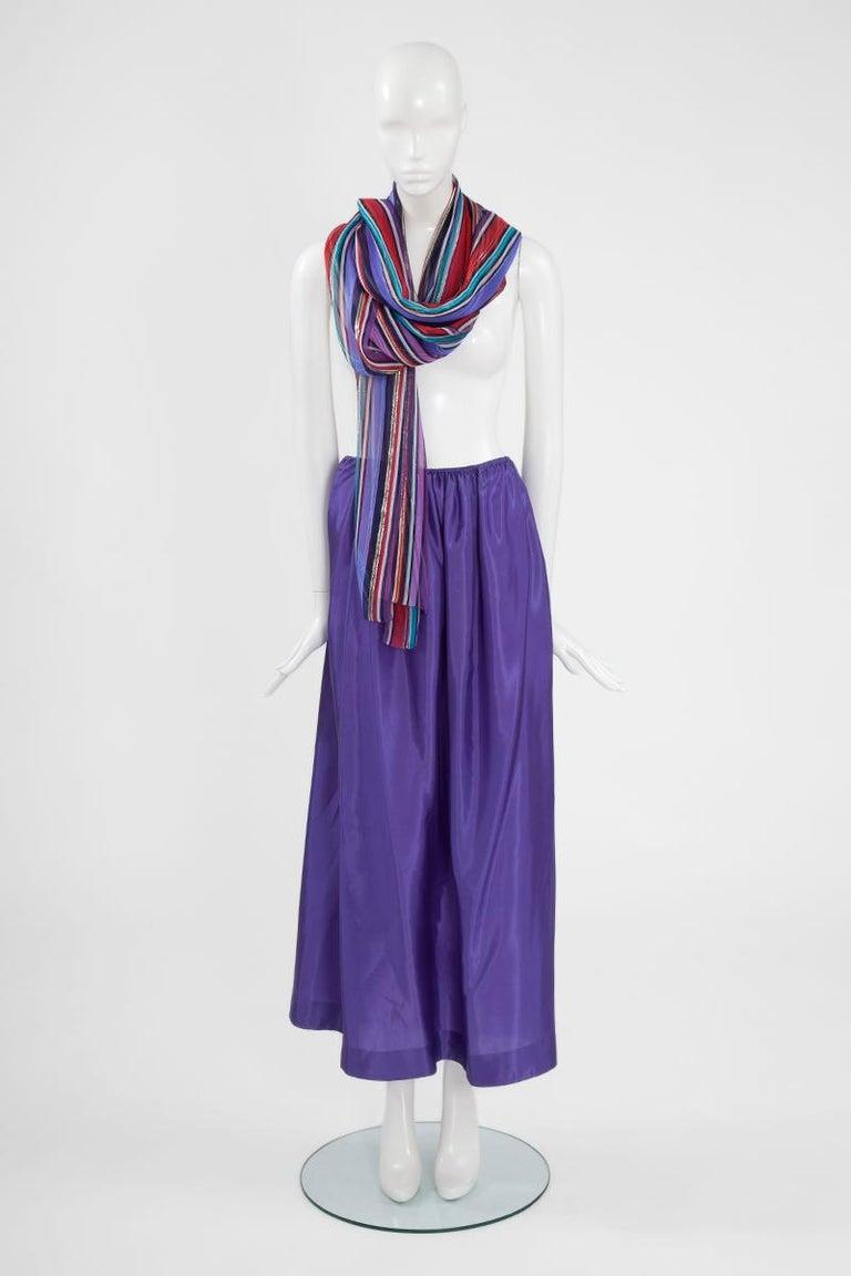 Christian Dior Cold-Shoulder Silk Chiffon Bayadere Dress, Circa 1978 For Sale 6