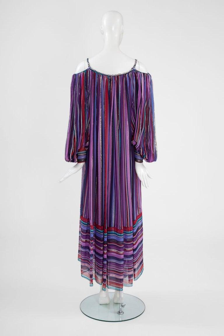 Christian Dior Cold-Shoulder Silk Chiffon Bayadere Dress, Circa 1978 For Sale 7