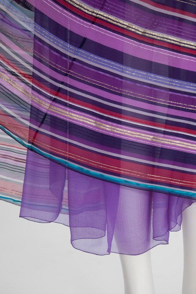 Christian Dior Cold-Shoulder Silk Chiffon Bayadere Dress, Circa 1978 For Sale 8