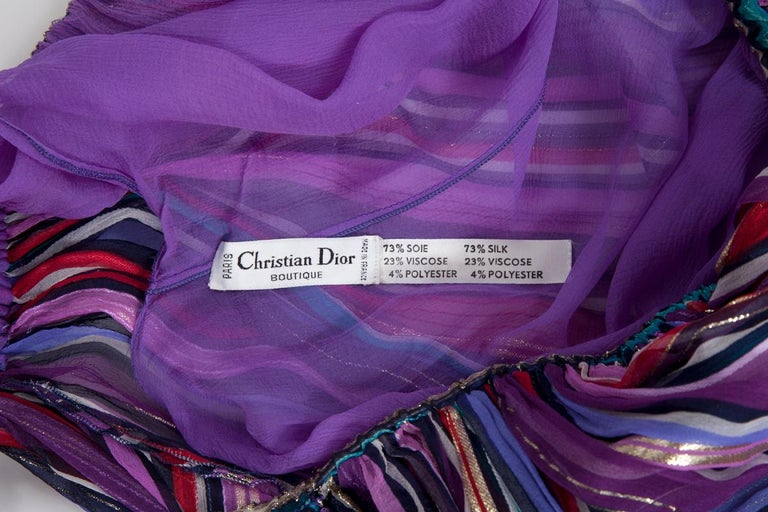 Christian Dior Cold-Shoulder Silk Chiffon Bayadere Dress, Circa 1978 For Sale 10