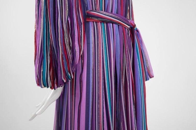 Christian Dior Cold-Shoulder Silk Chiffon Bayadere Dress, Circa 1978 In Good Condition For Sale In Geneva, CH