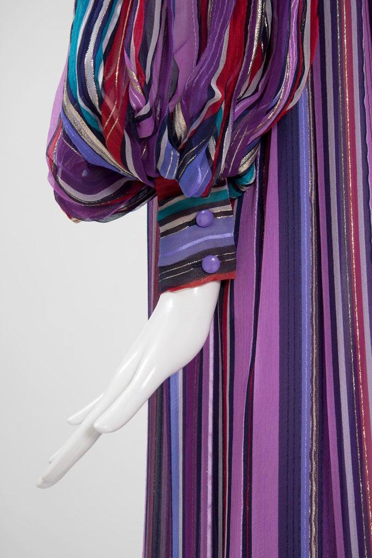 Women's Christian Dior Cold-Shoulder Silk Chiffon Bayadere Dress, Circa 1978 For Sale