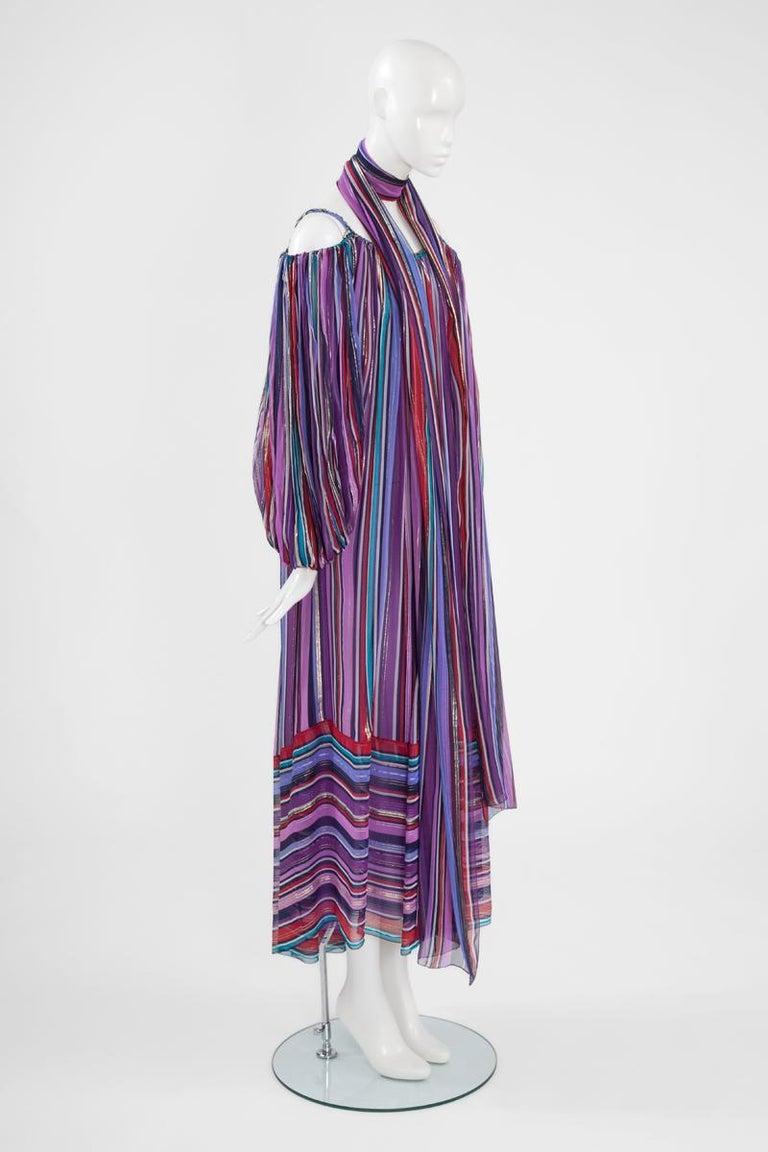 Christian Dior Cold-Shoulder Silk Chiffon Bayadere Dress, Circa 1978 For Sale 1