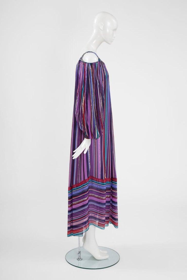Christian Dior Cold-Shoulder Silk Chiffon Bayadere Dress, Circa 1978 For Sale 2
