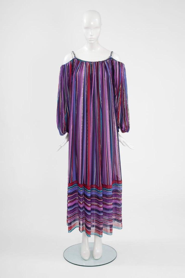 Christian Dior Cold-Shoulder Silk Chiffon Bayadere Dress, Circa 1978 For Sale 3